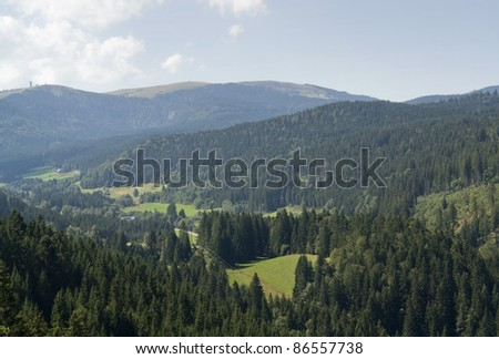 idyllic aerial scenery in the Black Forest (Southern Germany) in sunny ambiance - stock photo