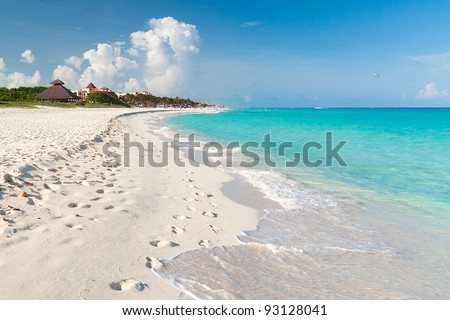 Idyllic beach of Caribbean Sea in Playacar - Mexico - stock photo