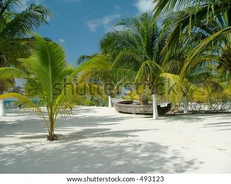 Idyllic beach scene - stock photo