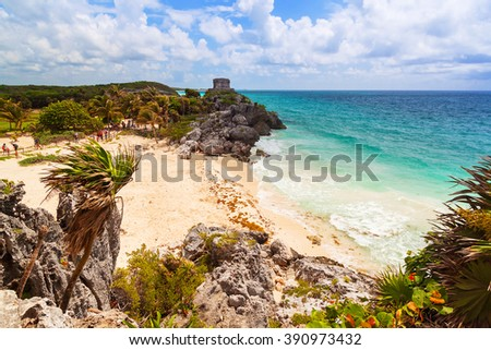 Idyllic Caribbean beach at the Mayan ruins temple of Tulum, Mexico - stock photo