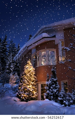 Idyllic Christmas time house in blue winter evening moment - stock photo
