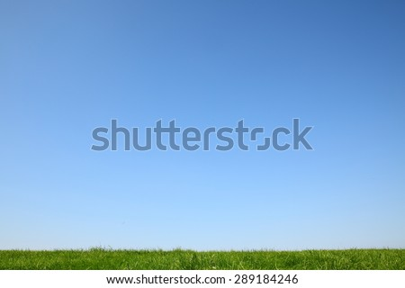 Idyllic green meadow with bright blue sky - stock photo