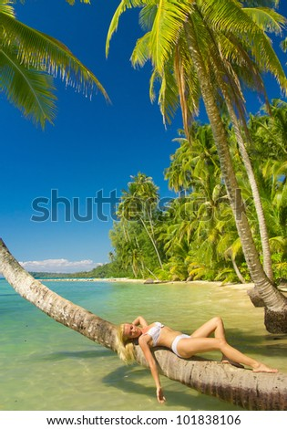 Idyllic Holiday Hot Blonde - stock photo