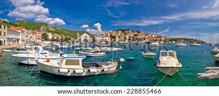Idyllic Hvar harbor panoramic view, Dalmatia, Croatia - stock photo