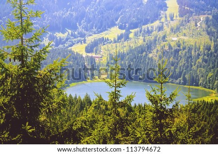 Idyllic Lake in the Bavarian Alps seen from a mountain - stock photo