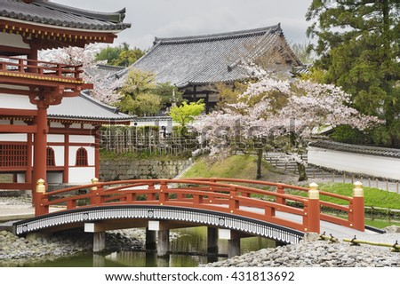 Idyllic landscape of Byodo-in Buddhist temple in Uji, Kyoto, Japan - stock photo