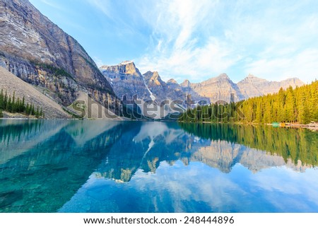 Idyllic Moraine Lake in Banff National Park, Canadian Rockies