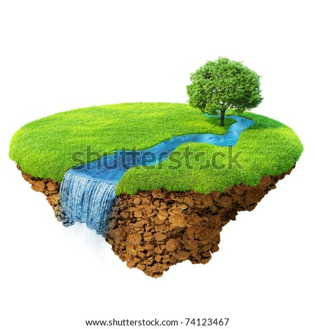 Idyllic natural landscape. Lawn with river, waterfall and one tree. Fancy island in the air isolated. Detailed ground in the base. Concept of success and happiness, idyllic ecological lifestyle. - stock photo