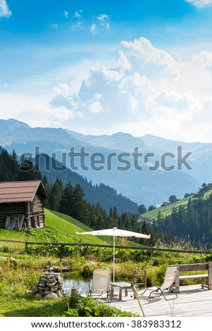 Idyllic Place To Relax And Enjoy The Beauty Of The Nature. Summer In The Mountains Of The Alps, In Switzerland. - stock photo