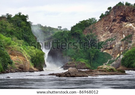 idyllic River Nile scenery including the Murchison Falls in Uganda (Africa) - stock photo