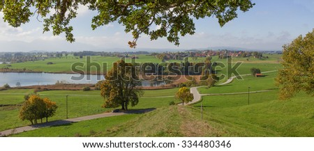 idyllic rural autumn landscape lake riegsee, footpath to lookout point, landscape upper bavaria - stock photo