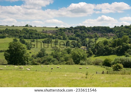 Idyllic rural landscape of the Cotswolds, England, UK. - stock photo