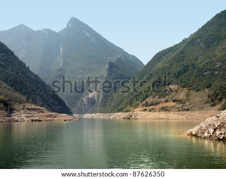 idyllic scenery around River Shennong Xi in China - stock photo