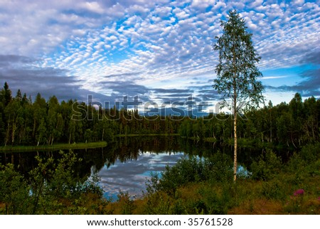 idyllic scenery in the north of sweden - stock photo