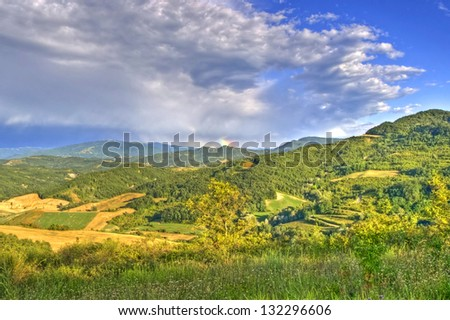 Idyllic scenery of a valley in Piedmont, Italy - stock photo