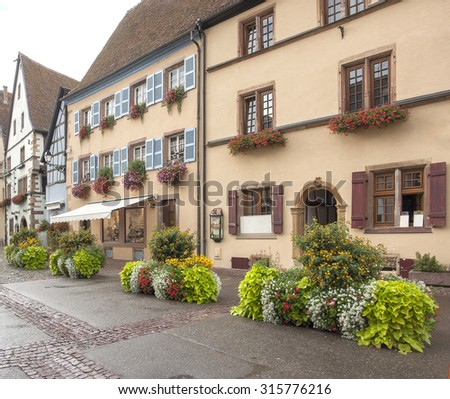Idyllic scenery of Eguisheim, a village in Alsace, France