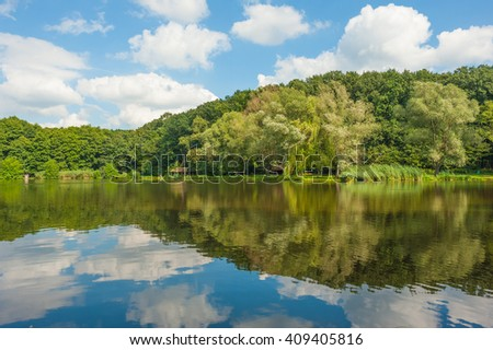 Idyllic tranquil fishing lake landscape with green trees of the forest and the fluffy clouds reflected in the water and framed with yellow flowers on the waterside - stock photo