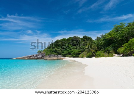 Idyllic tropical beach of Similan Islands with white sand and blue water, Ko Miang, National Park  - stock photo