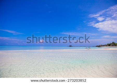 Idyllic tropical beach with white sand and perfect turquoise water - stock photo