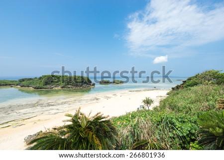 Idyllic tropical lagoon beach paradise of Okinawa - stock photo