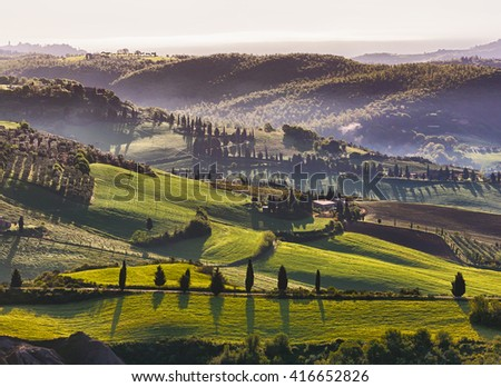 Idyllic tuscan landscape near Pienza, Italy - stock photo