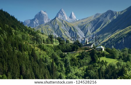 Idyllic view from French Alps. - stock photo