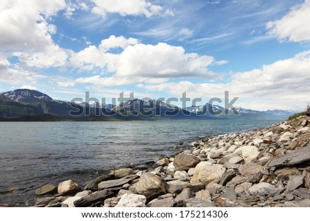 Idyllic view of and mountains of Norway