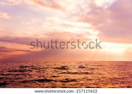 Idyllic View Sunset in Paradise  - stock photo