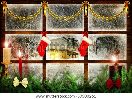 Idyllic view through the window at snowy night, christmas decoration - stock photo