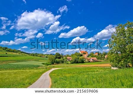 Idyllic village in green nature, Glogovnica, Croatia - stock photo