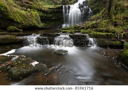 Idyllic waterfall at Scaleber Force, Yorkshire Dales - stock photo