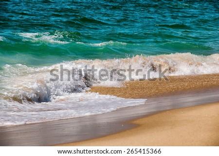 Idyllic wild beach in summertime. Atlantic Ocean, Portugal. - stock photo