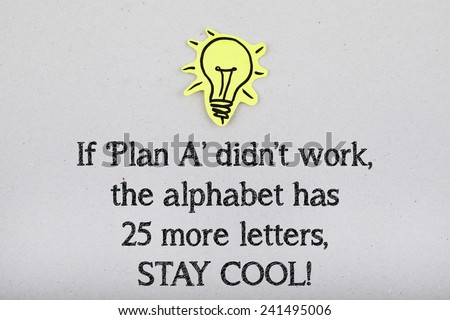 If Plan A Didn't Work The Alphabet Has 25 More Letters Stay Cool / Inspirational Motivational Business Life Quote - stock photo