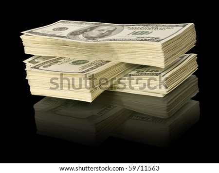 ig pile of money. dollars over white background