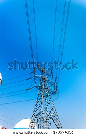 igh voltage post.High-voltage tower sky background.