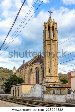 Iglesia de Santa Maria in Portbou, Spain - stock photo