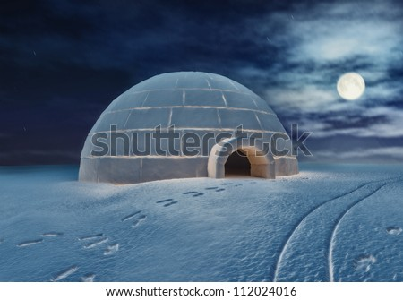 Igloo at night ( 3D and hand-drawing elements combined.) - stock photo