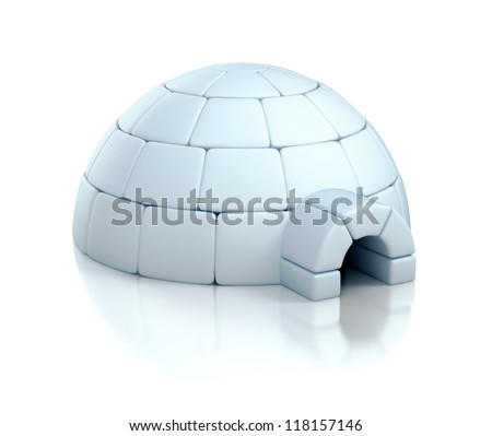 igloo 3d illustration - stock photo