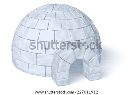 Igloo icehouse isolated on white diagonal view background three-dimensional illustration - stock photo
