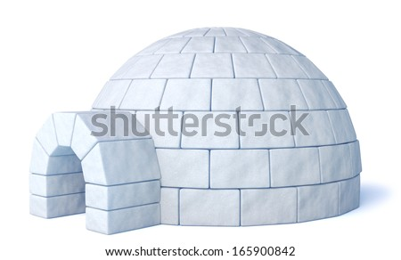 Igloo icehouse on isolated white background three-dimensional illustration - stock photo