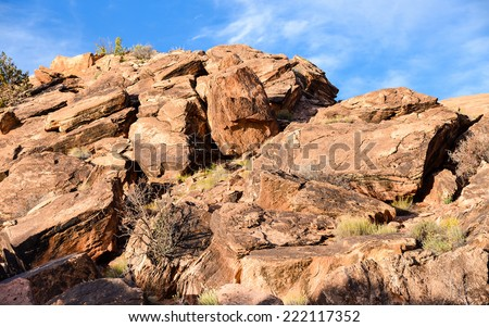 Igneous Rocks in Arches National Park - Moab, Utah - stock photo