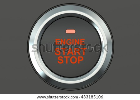 Ignition start button closeup, 3D rendering isolated on white background - stock photo