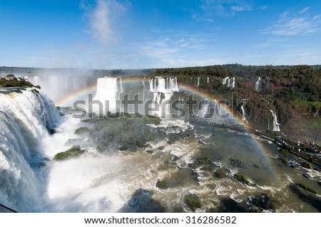 Iguacu water Falls, Brazil Iguazu south america - stock photo