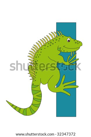 Iguana with the letter I - stock photo