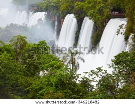 Iguassu(Iguazu) Falls located at the Brazilian and Argentinian border - stock photo