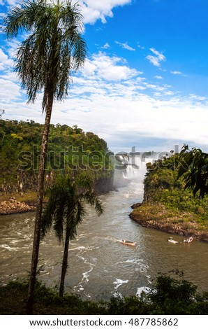 Iguazu Falls (Cataratas del Iguazu), waterfalls of the Iguazu River on the border of the Argentina and the Brazil, view from the Argentina side