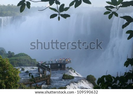Iguazu Falls is one of the most imposing natural attractions in Argentina - stock photo