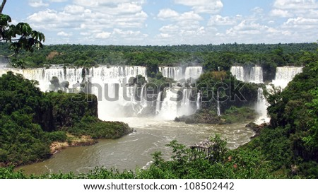 Iguazu falls, one of the new seven wonders of nature. UNESCO World Heritage site. View from the argentinian side - stock photo