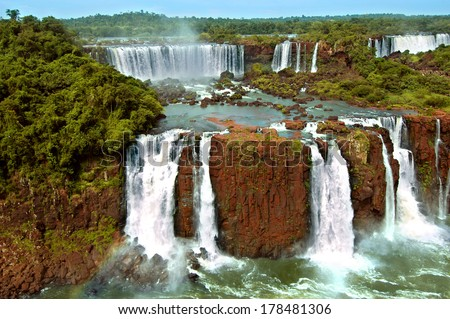 Iguazu waterfalls in Argentina and Brazil - stock photo