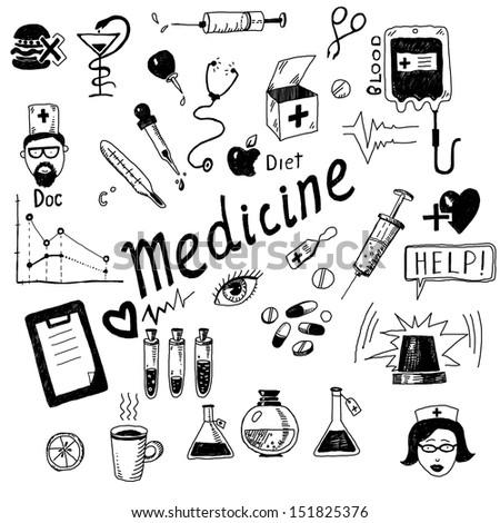 IIlustration Medicine icons - stock photo